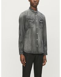 The Kooples - Faded Relaxed-fit Stretch-denim Shirt - Lyst