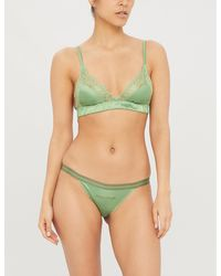 Love Stories Love Lace Satin And Lace Bralette - Green