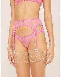 Agent Provocateur Hinda Lace And Mesh Suspender Belt - Pink