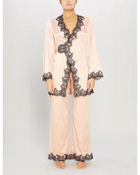 Agent Provocateur Amelea Lace-trimmed Silk-blend Pajama Top - Pink