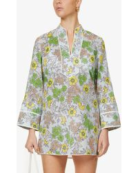 Tory Burch Floral-print V-neck Cotton Mini Dress - Blue