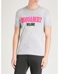 DSquared² - Logo-print Cotton-blend T-shirt - Lyst