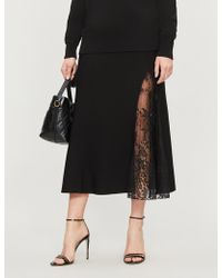 Givenchy High-waist Floral-lace And Crepe Midi Skirt - Black