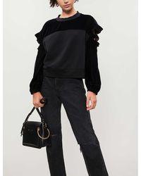 Pinko Elica Cutout Cotton-blend Sweatshirt - Black