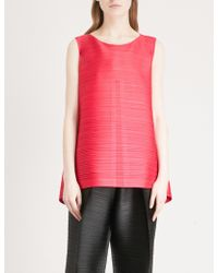 Pleats Please Issey Miyake Edgy Bounce Pleated Top - Pink