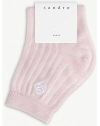 Sandro Logo Cotton-blend Socks - Pink