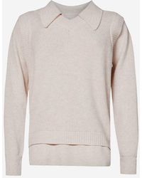 Bevza Collared Vest-overlay Wool-blend Sweater - Natural