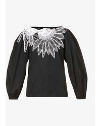 Dries Van Noten - Floral And Bead-embroidered Cotton Blouse - Lyst