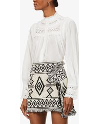 Ba&sh Leaf Embroidered-print Cotton Shirt - White