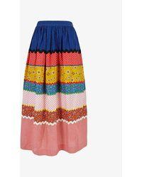Beyond Retro Pre-loved Pete Thousand Patchwork High-waist Cotton-blend Midi Skirt - Multicolour