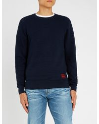 Calvin Klein - Branded Waffle-knit Cotton And Wool-blend Jumper - Lyst