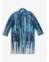 DIESEL X Pronounce Graphic-print Pvc Overcoat - Blue