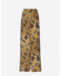 Uma Wang Pansy Printed Wide-leg High-rise Stretch-silk Trousers - Metallic