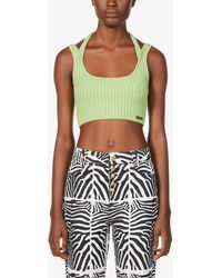 House Of Sunny Womens Sisi Grass Kelly Sport Cropped Knitted Top 10 - Green