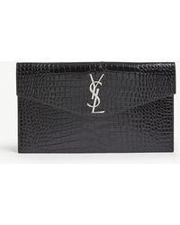 Saint Laurent Monogram Uptown Croc-embossed Leather Pouch - Black