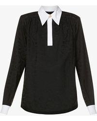 CASABLANCA Contrast-collar Jacquard Shirt - Black