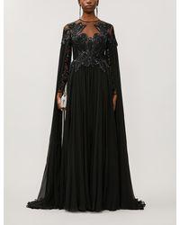 Zuhair Murad Pamplona Cape-effect Embroidered Silk-chiffon Gown - Black
