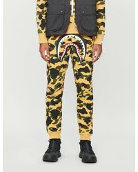 A Bathing Ape Camouflage-print Cotton-jersey Tracksuit Bottoms - Yellow