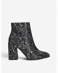 Steve Madden Gray 'therese' Snake Print Block Heel Ankle Boots
