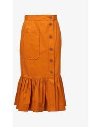 Oroton Ruffle-hem Stretch-cotton Midi Skirt - Orange