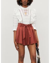 Sandro Paper Bag-waist Pleated Twill Shorts - Multicolour