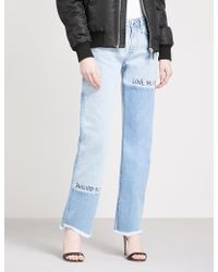 Philipp Plein - Text-embroidered Patchwork Straight High-rise Jeans - Lyst