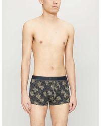 BOSS Palm-print Stretch-cotton Trunks - Multicolour