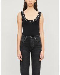 Sandro Stud-embellished Bodysuit - Black