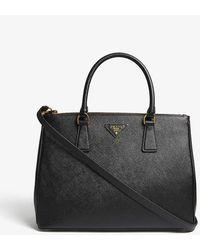 Prada Galleria Saffiano Large Leather Tote - Black