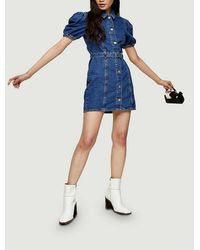 TOPSHOP Considered Puff Sleeve Belted Denim Dress - Blue
