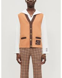 Gucci Contrast-trim Logo-embroidered Woven Waistcoat - Brown