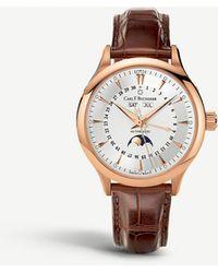 Carl F. Bucherer 00.10909.03.13.01 Rose-gold Slim Leather Strap Watch - Black