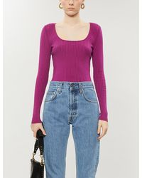 PacSun X Kendall & Kylie Ribbed Woven Crop Top - Purple