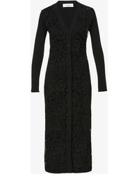 Valentino - Floral-embroidered Stretch-woven Cardigan - Lyst