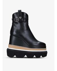 Sacai Wedge Leather Ankle Boots - Black