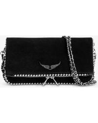 Zadig & Voltaire Rock Studded Suede Clutch Bag - Black