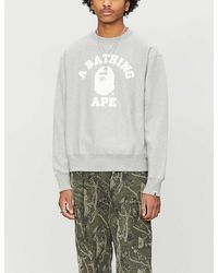 A Bathing Ape College Wide Cotton-jersey Sweater - Gray