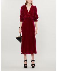 Ghost Gracie V-neck Velvet Dress - Pink