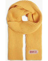 Gucci - Sega Logo Knitted Wool Scarf - Lyst