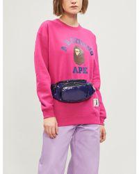 A Bathing Ape - College Swarovski Crystal-embellished Cotton-blend Sweatshirt - Lyst