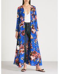We Are Leone Floral-print Silk Maxi Cardigan - Blue