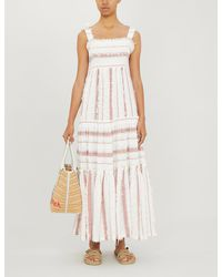 Tigerlily Jamais Striped Cotton-blend Dress - Orange
