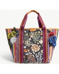 Kurt Geiger - Ladies Orange Floral Daisy Canvas Shopper - Lyst