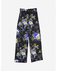 Meng Floral-print Wide-leg Silk-satin Pyjama Trousers - Black
