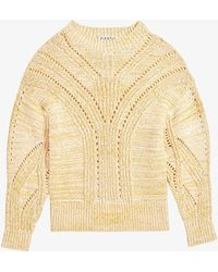 Claudie Pierlot Martelle Relaxed-fit Cotton-blend Knitted Jumper - Yellow