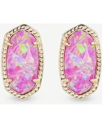 Kendra Scott - Ellie 14ct Gold-plated Fuschia Kyocera Opal Stud Earrings - Lyst