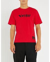 Evisu - Daruma Backprint Cotton-jersey T-shirt - Lyst