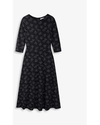 The White Company Scatter-print Jersey Midi Dress - Black