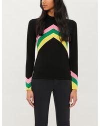 Perfect Moment Chevron-stripe Merino Wool Sweater - Black