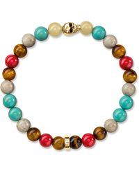 Thomas Sabo - Rebel At Heart Gold-plated Beaded Skull Bracelet - Lyst